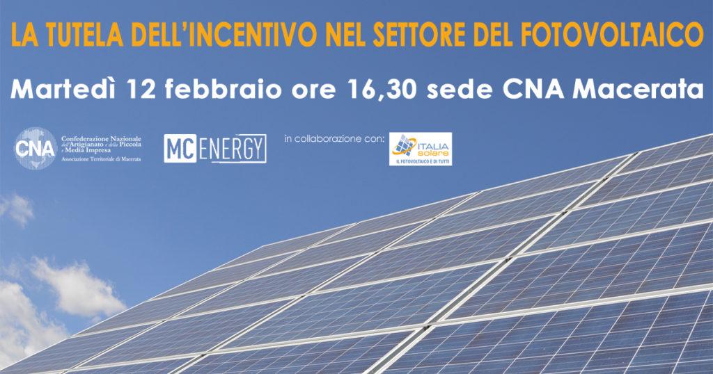 locandina iniziativa incentivi fotovoltaico