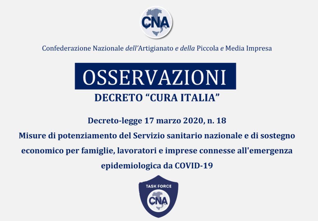 CNA _ Osservazioni DL Cura Italia