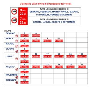 calendario divieti di circolazione 2021