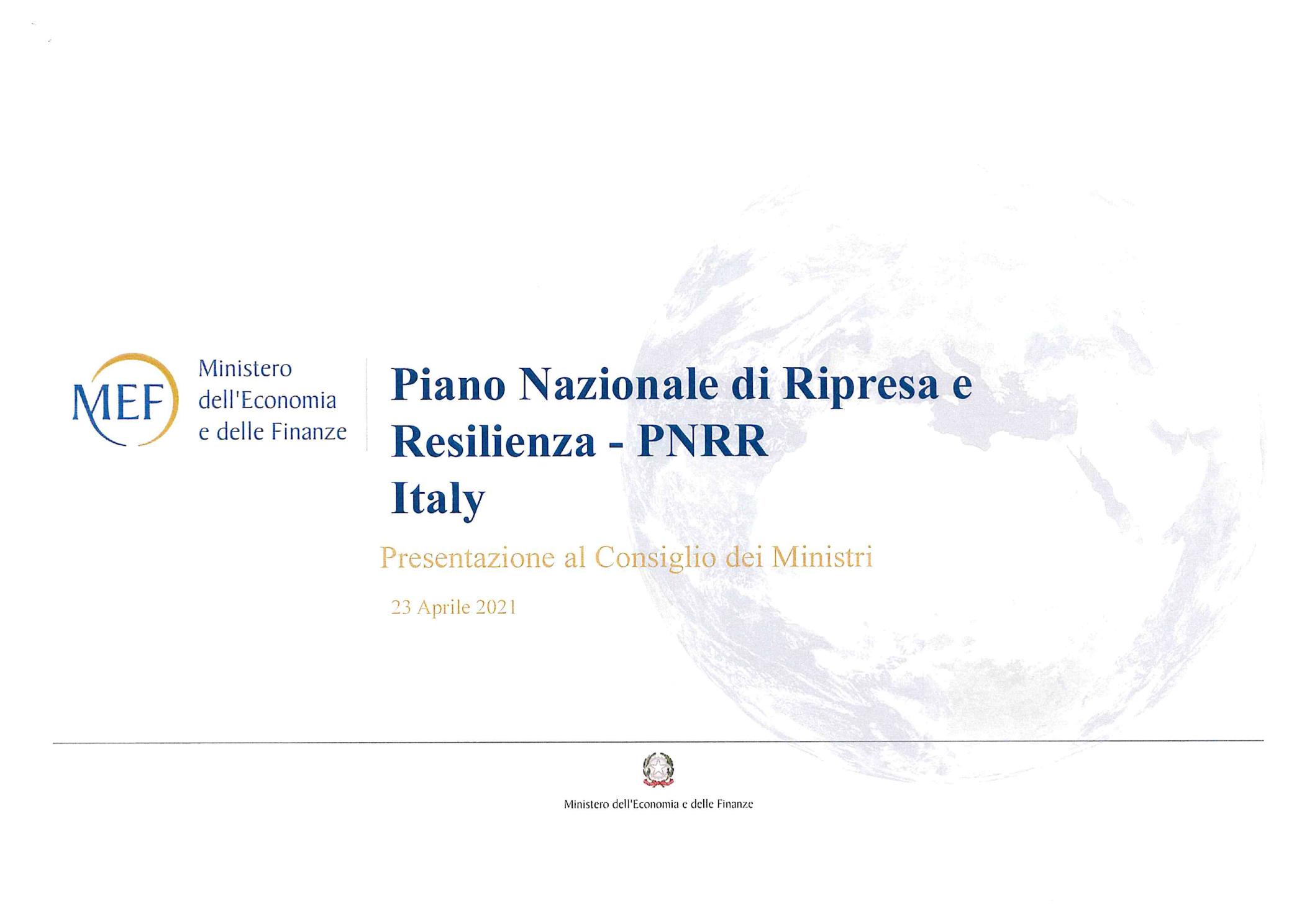 PNRR presentazione 22 aprile 2021